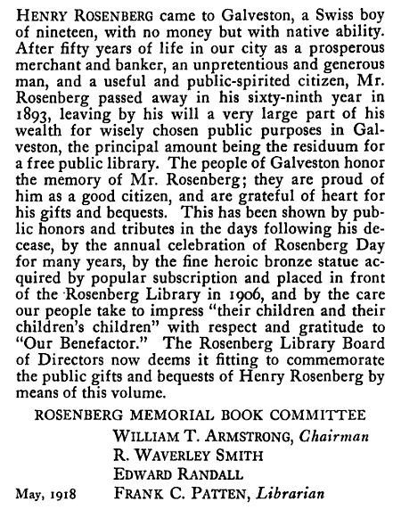 Foreword to the publication Henry Rosenberg, 1824 – 1893: to commemorate the gifts of Henry Rosenberg to Galveston