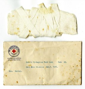 Face mask used during the Spanish influenza epidemic. Courtesy of the Rosenberg Library.