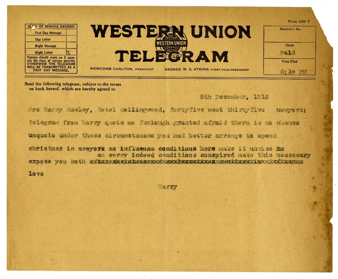 Telegram from Harry Hawley telling his wife in New York not to return to Galveston because of the influenza outbreak. Courtesy of the Rosenberg Library.