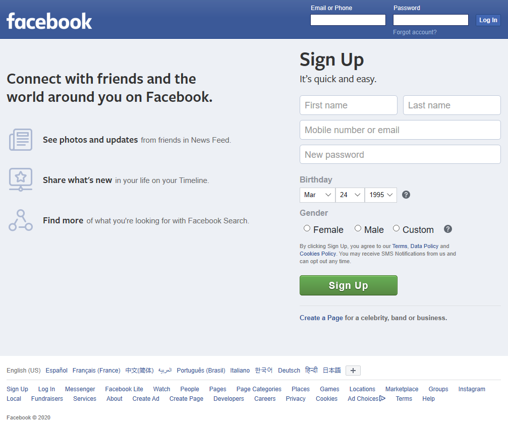 Picture of the Facebook sign up webpage