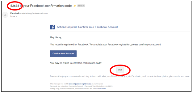 Picture of the Facebook email verification webpage