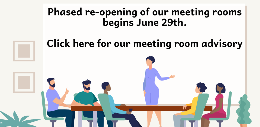 Phased reopening of the Rosenberg Library's meeting rooms begins on June 29, 2020. The Rosenberg Library is dedicated to protecting the health and safety of visitors and staff. Click here for our meeting room advisory.