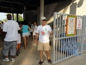 John Augelli welcoming Summer Reading Club participants to the Moody Gardens Palm Beach Kick-off Party, June 2013.