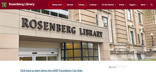 Picture of the Rosenberg Library website. Select 'My Account' from the navigation bar at the top.